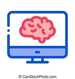 vector, exhibición, icono, ilustración, cerebro, contorno