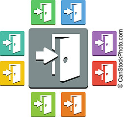 Vector exit icons - 'almost flat' style - 9 colors