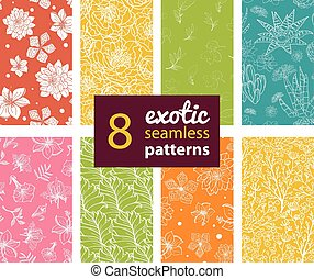 Vector Exotic Flowers Eight Set Seamless Patterns. Succulent...