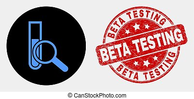 Vector Explore Test-Tube Icon and Grunge Beta Testing Watermark
