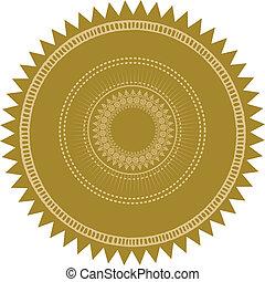 vector, explosión, sello oro