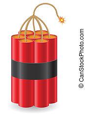 vector, explosivo, abrasador, ilustración, fusible, dinamita