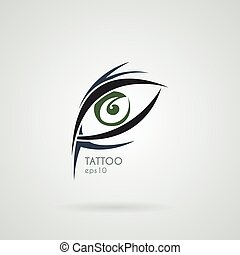 Vector eye icon in the style of tattoos