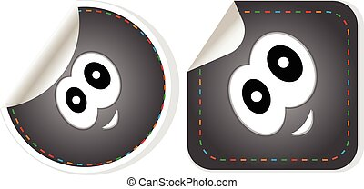 Vector Eye Icon stickers set isolated on white