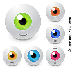 Vector eyeball set with smiles - Vector illustration for...