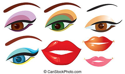 Vector eyes and lips for design on white