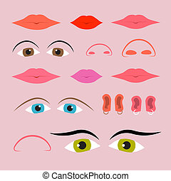 Vector Eyes, Mouths, Noses and Ears Set
