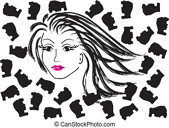 vector face of a beautiful woman a