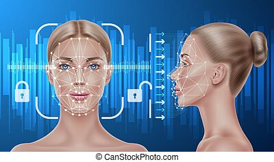Vector face recognition biometric scanning of girl - Face...