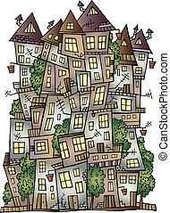 vector fairy-tale town - Illustration of fantasy vector...