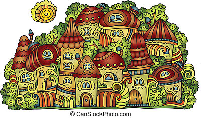 vector fairy-tale town
