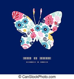 Vector fairytale flowers butterfly silhouette pattern frame...