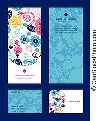 Vector fairytale flowers vertical frame pattern invitation...