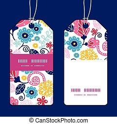 Vector fairytale flowers vertical stripe frame pattern tags set