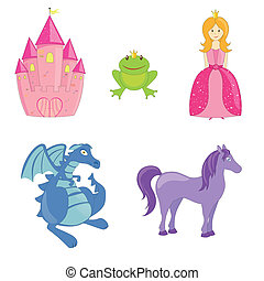 Vector Fairytale Set - Vector illustration of different...