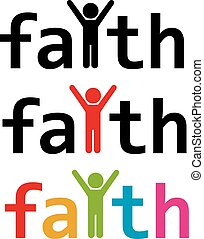 vector faith word and man with raised hands in worship prayer