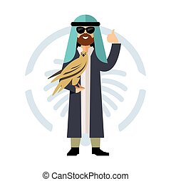 Vector Falconry in the Middle East. Flat style colorful Cartoon illustration.