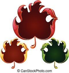 Vector fall leaves frame set