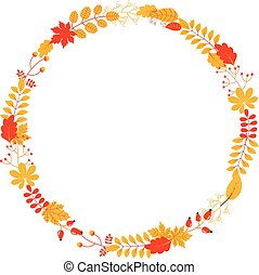Vector fall wreath with leaves and twigs in yellow and red colors for autumn designs, greeting cards and scrapbooking