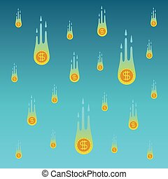Vector falling coins concept in fla style