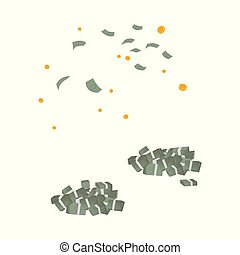vector falling money, dollar piles set