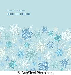 Vector falling snow horizontal frame seamless pattern background