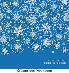 Vector falling snowflakes horizontal frame seamless pattern background