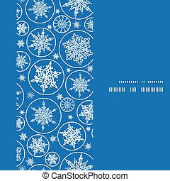 Vector falling snowflakes vertical frame seamless pattern background