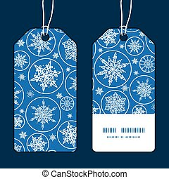 Vector falling snowflakes vertical stripe frame pattern tags set