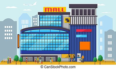vector, familias, mujeres, compradores, facade., centro, frente, moderno, illustration., alameda, diferente, parejas, compradores, compras, emporio, exterior, edificio, gente, hombres, posición