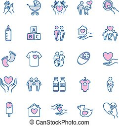 vector family and children thin line icons set for your...