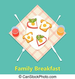 Vector family breakfast concept with food and drinks.