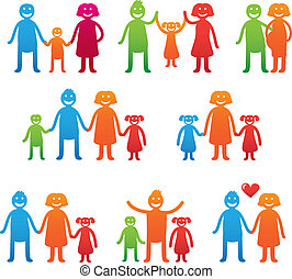 Vector family icons - happy parents with kids - bright...