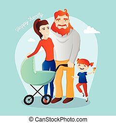 Vector family illustration. Happy parents with daughter and newborn in the cradle.
