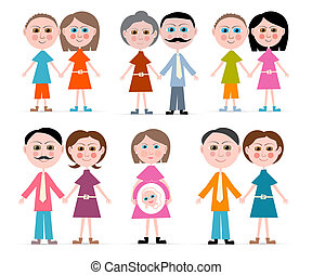 Vector Family Members Set Illustration Isolated on white Background