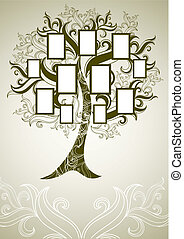 Vector family tree design with frames and autumn leafs....