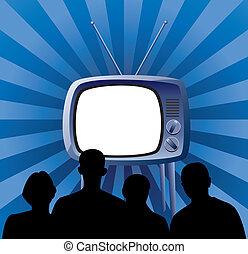 vector family watching retro tv set - vector illustration of...