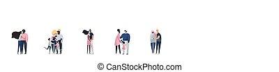 vector, familys, fondo., illustration., familias, aislado, ...