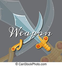 Vector fantasy cartoon style game design medieval crossed magic sword and saber elements