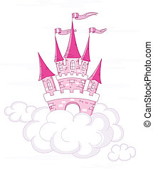 Vector fantasy castle on white clouds