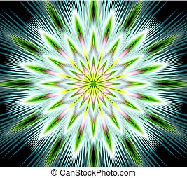 Vector fantasy flower mandala, closeup in fractal style, gritty colorful rays on black background