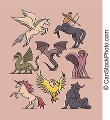 Vector fantasy illustration. Outline icon set. Collection