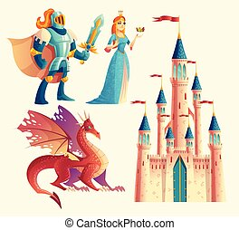 Vector fantasy set - knight, princess, dragon, castle