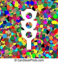 vector., farbenfreudiges licht, zeichen., wi, verkehr, hintergrund, weißes, ikone