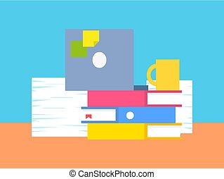 vector, farceren, illustratie, kantoor, verzameling