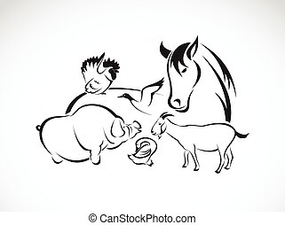 Vector farm animal set on white background, horse,pig,chicken,donkey,duck,goose