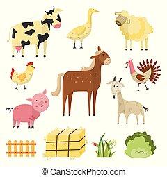 Vector farm animals, birds rural symbols set