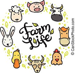 Vector farm animals doodle style circle frame with hand lettered inscription