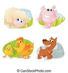 Vector farm animals in cool cartoon sticker style.
