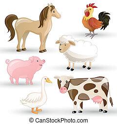 Vector Farm Animals - Vector Set of isolated Farm Animals